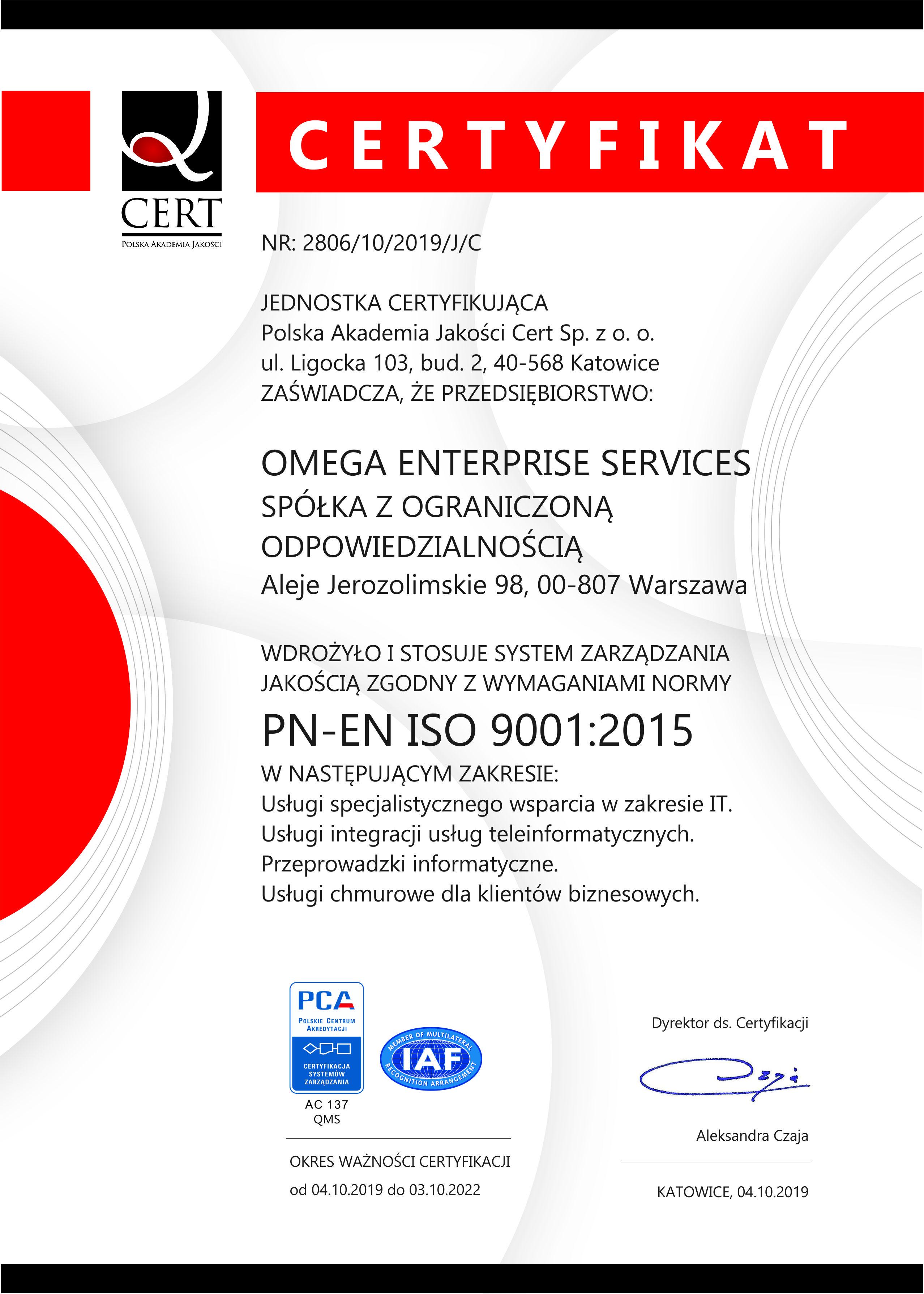 Uzyskaliśmy certyfikat ISO System Zarządzania Jakością PN-EN ISO 9001:2015